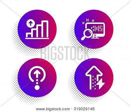 Swipe up, Search and Graph chart icons simple set. Halftone dots button. Energy growing sign. Scrolling page, Find file, Growth report. Power usage. Technology set. Classic flat swipe up icon. Vector stock photo