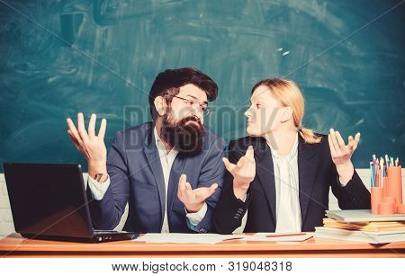 Teacher principal decide who will enter private school. Interviewing enrollee. Private elite school. College enrollee. Entrance examination. Apply to enter high school. Selection committee concept stock photo