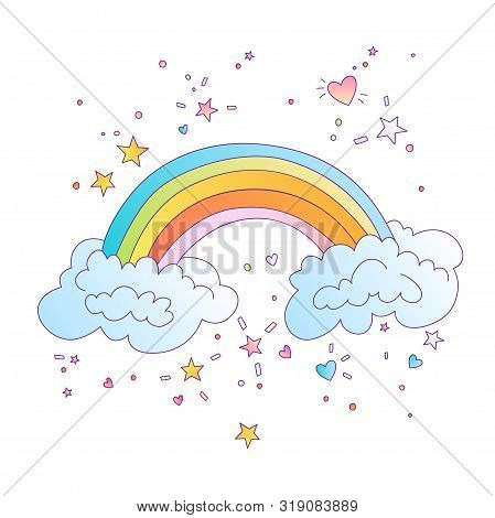 Cute Vector Colored Rainbow With Clouds And Decorative Stars And Elements Around. Cute Cartoon Rainb