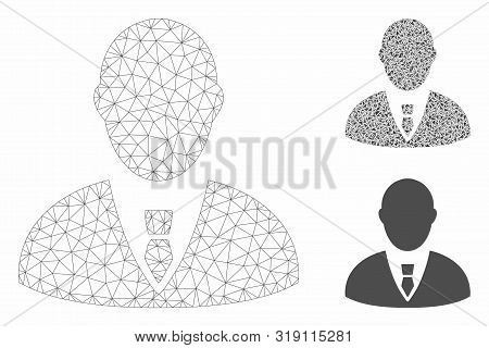 Mesh manager model with triangle mosaic icon. Wire carcass triangular network of manager. Vector mosaic of triangles in different sizes, and color tints. Abstract flat mesh manager, stock photo