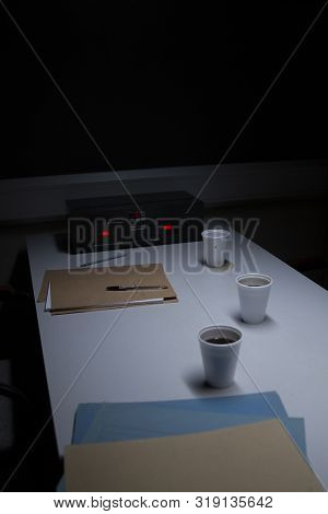 Police Station Custody Interview Room - Subdued Lighting, Intimidating stock photo