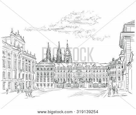 Vector hand drawing Illustration of Hradcany square. The Central gate of the Hradcany Castle. Landmark of Prague, Czech Republic. Vector illustration in black color isolated on white background. stock photo