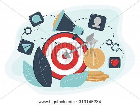 Behavioral targeting concept Arrow hit target, megaphone. Audience on customer behavior: likes, comments, reposts, subscription stock photo