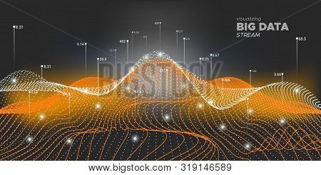 Big Data Vector. Matrix Visualization. Big Data Network. Neon Graph Futuristic. Black Technology Visualization. 3d Wave Abstract. System Visualization. Big Data Analysis. stock photo