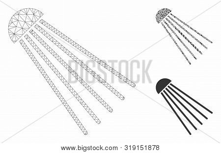 Mesh spray source model with triangle mosaic icon. Wire frame triangular mesh of spray source. Vector mosaic of triangle elements in various sizes, and color shades. Abstract flat mesh spray source, stock photo