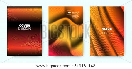 Orange Fluid Cover. Orange Vector Poster. Dynamic Vibrant Lines. Red 3d Background. Fluid Lines Pattern. Neon Movement Cover. Vector Concept. 3d Fluid Brochure. stock photo
