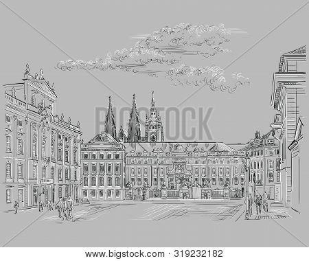 Vector hand drawing Illustration of Hradcany square. The Central gate of the Hradcany Castle. Landmark of Prague, Czech Republic. Vector illustration in black and white color isolated on grey background. stock photo