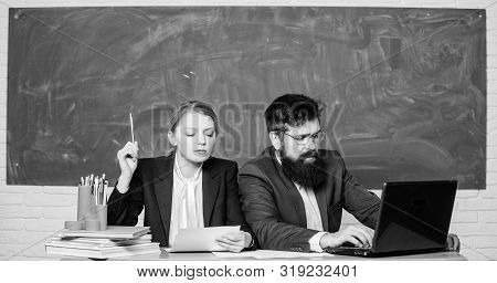 Teacher principal decide who will enter private school. Private elite school. Interviewing enrollee. College enrollee. Entrance examination. Apply to enter high school. Selection committee concept stock photo