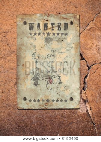 Wild West styled poster. Place for announcements. stock photo