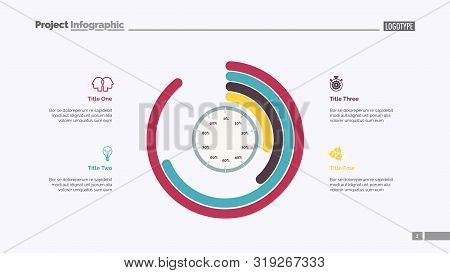 Informative infographics slide template. Business data. Graph, diagram, design. Creative concept for infographic, report. Can be used for topics like statistics, analysis, achieving goal stock photo