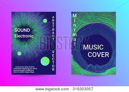 Music Cover design. A set of modern abstract backgrounds. Abstract party posters. Futuristic wave patterns are distorted with dotted lines. Techno Music Festival Advertising. Dance party background. stock photo