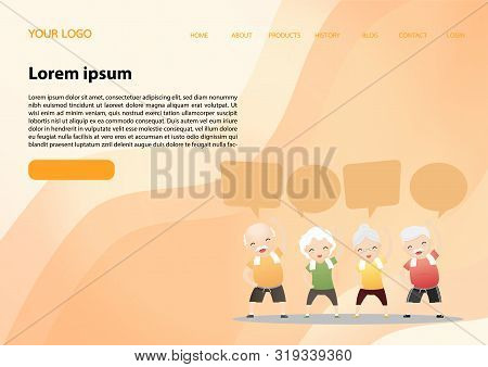 Elderly people exercising.Elderly doing exercising with speech bubbles. Active healthy workout aged people. Grandparents making morning exercises. Cartoon illustration isolated on background. Vector, illustration stock photo