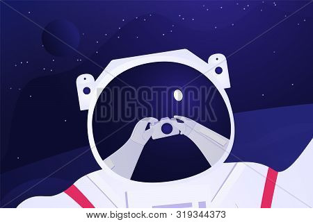 Astronaut taking selfie on the fantastic background. Spaceman travel around the unknown planet. On the helmet there is a mirror of his hands with photo camera. Future travel Vector illustration. stock photo