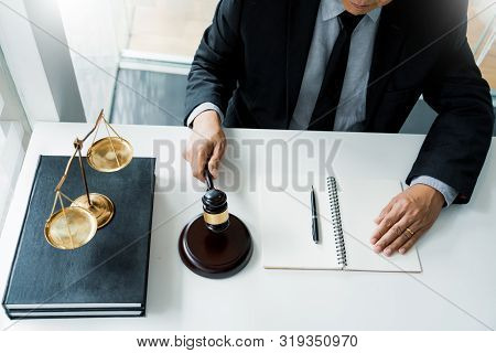 The private office workplace for consultant an young lawyer legislation with gavel and document on wood table stock photo