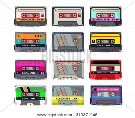 Retro cassettes set. Audio tape, recording, vintage. Music concept. Vector illustrations can be used for topics like analogue technology, music recorder, vintage player stock photo
