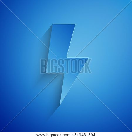 Paper cut Lightning bolt icon isolated on blue background. Flash sign. Charge flash icon. Thunder bolt. Lighting strike. Paper art style. Vector Illustration stock photo
