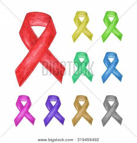 Multicolor awareness ribbon set, AIDS ribbon symbol. isolated on white background.  Watercolor illustration. stock photo