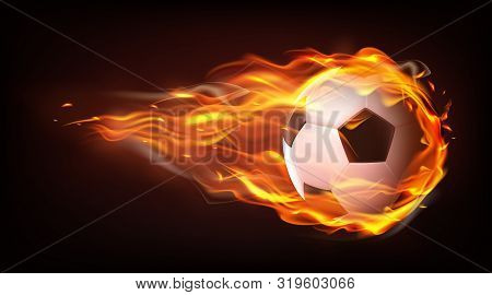 Football ball flying engulfed in flames, firing in darkness after powerful strike 3d realistic vector isolated on black background. Soccer championship, sport competition announcement design element stock photo
