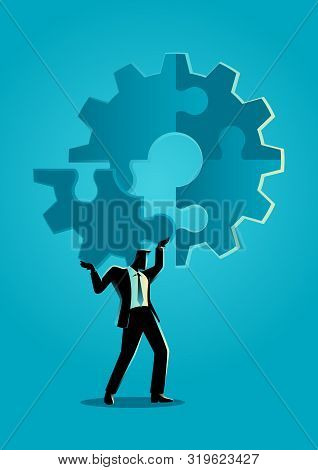 Business concept illustration of a man holding on his shoulder the final peace of puzzle which forming a gear, business, complete, completion, solution concept stock photo