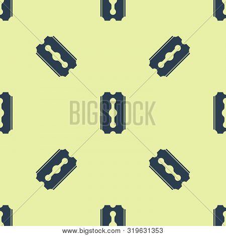 Blue Blade razor icon isolated seamless pattern on yellow background. Vector Illustration stock photo