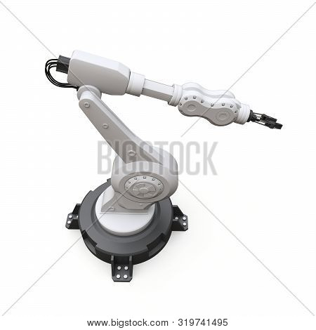 Robotic arm for any work in a factory or production. Mechatronic equipment for complex tasks. 3d illustration. stock photo
