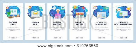 Mobile app onboarding screens. Office computer, files backup, business dashboard, send email. Menu vector banner template for website and mobile development. Web site design flat illustration stock photo