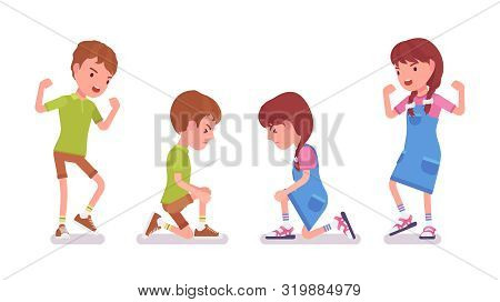 Boy and girl child 7 to 9 years old, negative mood and injury. Unhappy angry kid crying, feeling hurt and upset with scraped knee. Vector flat style cartoon illustration isolated on white background stock photo