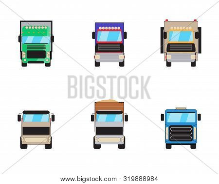 Trailer trucks front view icon set isolated on white. Commercial lorry truck with container, dump truck, garbage truck. Vector illustration stock photo