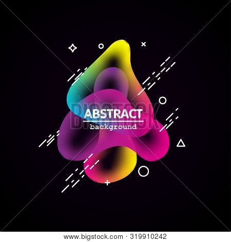 Motion amoeba fluid abstract background paper cut. Liquid bubble for logo text. Book cover modern banner neon colors with outline. Amoeba vector. stock photo
