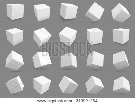3d cubes. White blocks with different lighting and shadows, boxes in perspective. Abstract geometric square shapes vector distorted model structures render grey collection stock photo