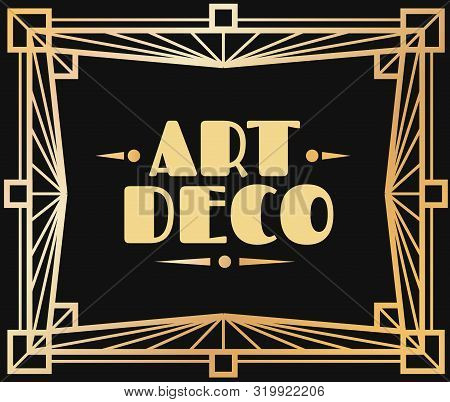 Gold art deco frame. Border with graphic 1920s ornamental decorative elements geometric style vector invite card abstract patterns lines golden luxury twenties modern template stock photo