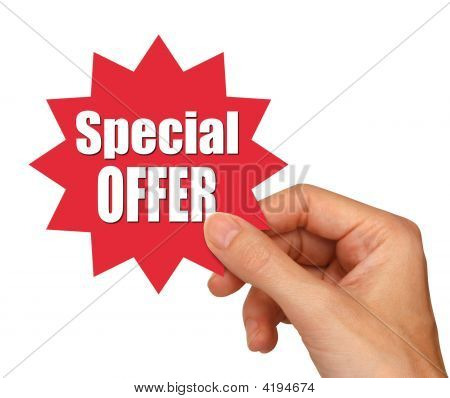 young female hand holding a special offer star stock photo
