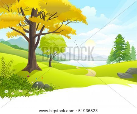 Scenic countryside lake view