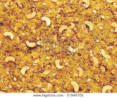 Delicious mixture of daal moth and kaju on ground ** Note: Soft Focus at 100%, best at smaller sizes stock photo