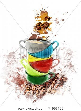 Watercolor Digital Painting Of Coffee Cups-Dishwasher Magnet Skin (size 24x24)