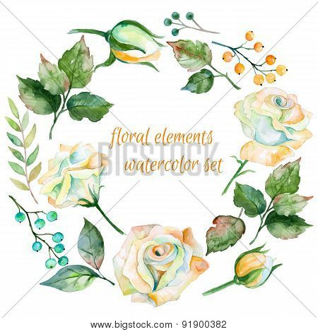 Set of different white flowers. berries and leaves for design