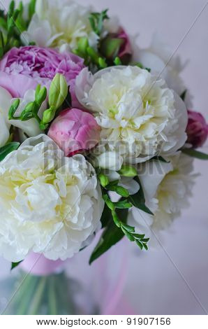 Bride bouquet of wedding flowers white and pink peony. Wedding day decoration.