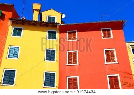 Bright paints of historical architecture of the Mediterranean Europe. stock photo