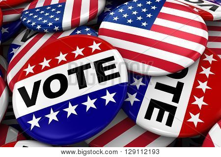 US Elections Concept Image - Mix of Vote and American Flag Badges in Pile - 3D Illustration stock photo