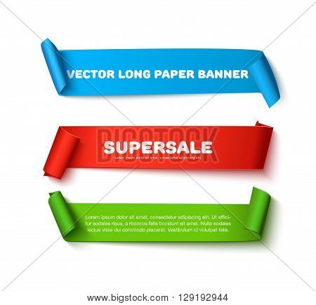Set of colorful horizontal curved paper ribbon banners with paper rolls and space for text isolated on white background. Realistic vector paper template for sale promo and ad. Colorful  ribbons for web banner with shadow