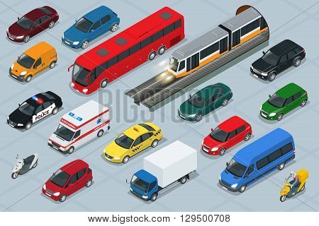 Car icons. Flat 3d isometric high quality city transport car icon set. Car, van, cargo truck,  off-road, bus, scooter, motorbike, riders. Transport set. Set of urban public and freight transport stock photo