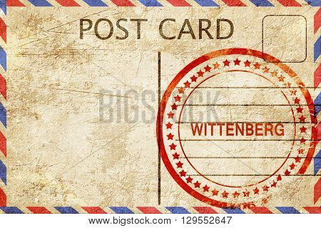 Wittenberg, vintage postcard with a rough rubber stamp stock photo