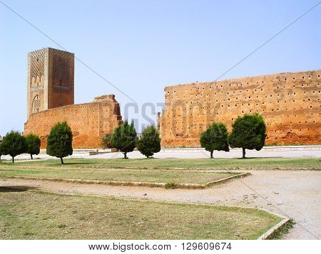 Mosque of Yakub al-Mansour and Hassan Tower. Rabat. Morocco stock photo