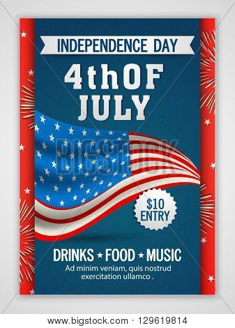 Creative Pamphlet, Banner or Flyer design with American Flag for 4th of July, Independence Day Party
