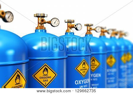 3D render illustration of the group of blue metal steel liquefied compressed natural oxygen gas containers or cylinders for welding or medical use with high pressure gauge meters and valves arranged in row and isolated on white background stock photo
