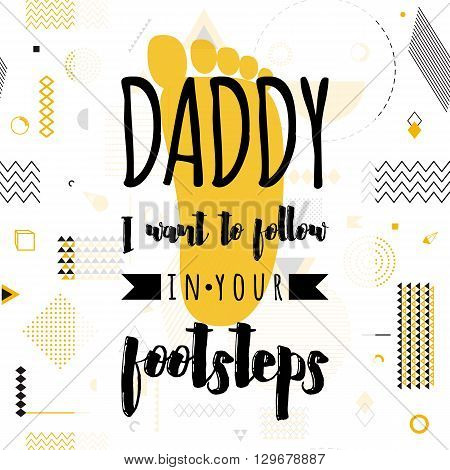 Happy fathers day wishes design vector background on seamless pattern. Fashion father line greeting. Father poster for print or web design. Modern holiday wishes. Hipster gold style