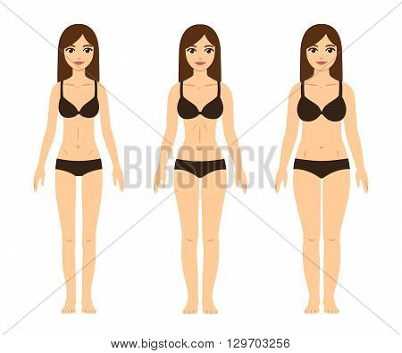 Female body types: skinny (underweight) fit (hourglass figure) and thick (with abdominal fat). Cute girls in underwear. stock photo