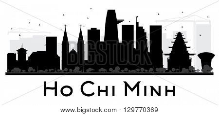 Ho Chi Minh City skyline black and white silhouette. Vector illustration. Simple flat concept for tourism presentation, banner, placard or web site. Business travel concept. Isolated Ho Chi Minh stock photo