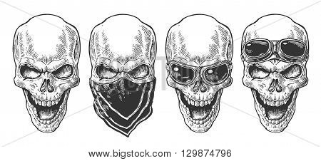 Skull smiling with bandana and glasses for motorcycle on forehead and eyes. Black vintage vector illustration. For poster and tattoo biker club. Hand drawn design element isolated on white background