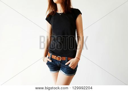 Advertising And T-shirt Design Concept. Close Up Of Black Copy Space T-shirt On Stylish Teenager Mod